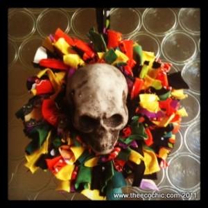 tshirt scrap wreath halloween