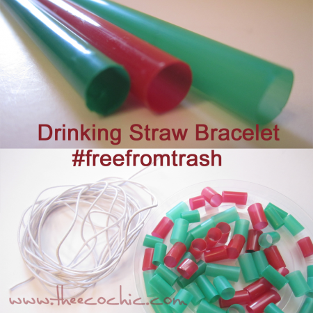 Drinking Straw Bracelet Craft #freefromtrash
