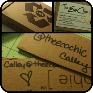 Upcycled Cardboard Blogger Business Cards
