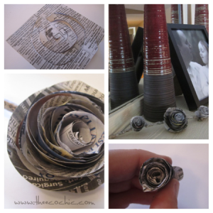 Rolled Newspaper Flower Upcycled Craft #freefromtrash