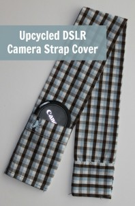 Upcycled Camera Strap Cover Tutorial featured on FaveCrafts