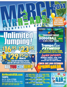 Win an Unlimited Jump Spring Break Pass from AirHeads Trampoline Arena Largo, FL