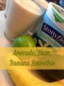 Avocado, Lime, Banana Yogurt Smoothies