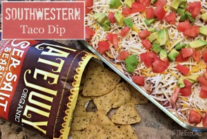Stonyfield Southwestern Taco Dip featuring Late July Tortilla Chips