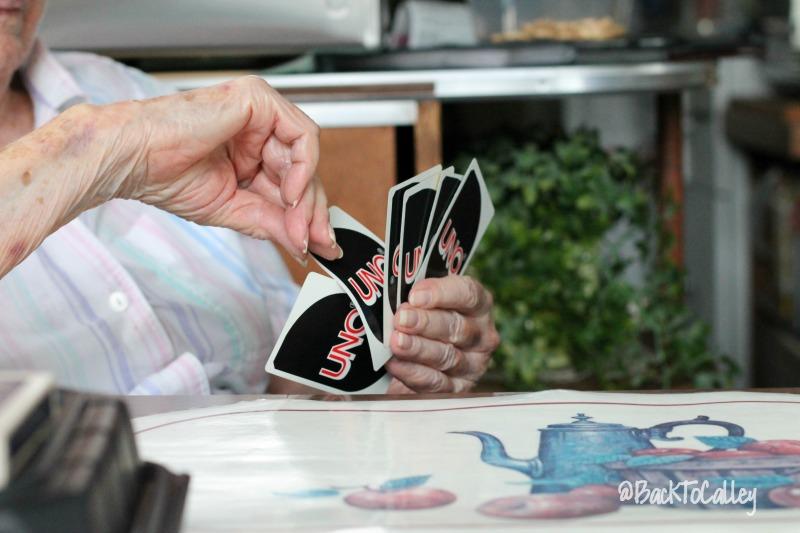 Playing Uno with Grandma