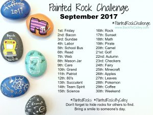 Painted Rock Challenge - September 2017 #PaintedRockChallenge #PaintedRocksByCalley