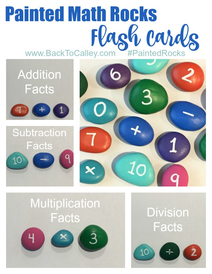 Painted Math Rocks Flash Cards