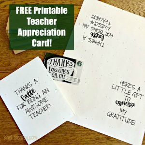 Thanks A Latte Teacher Printable Card