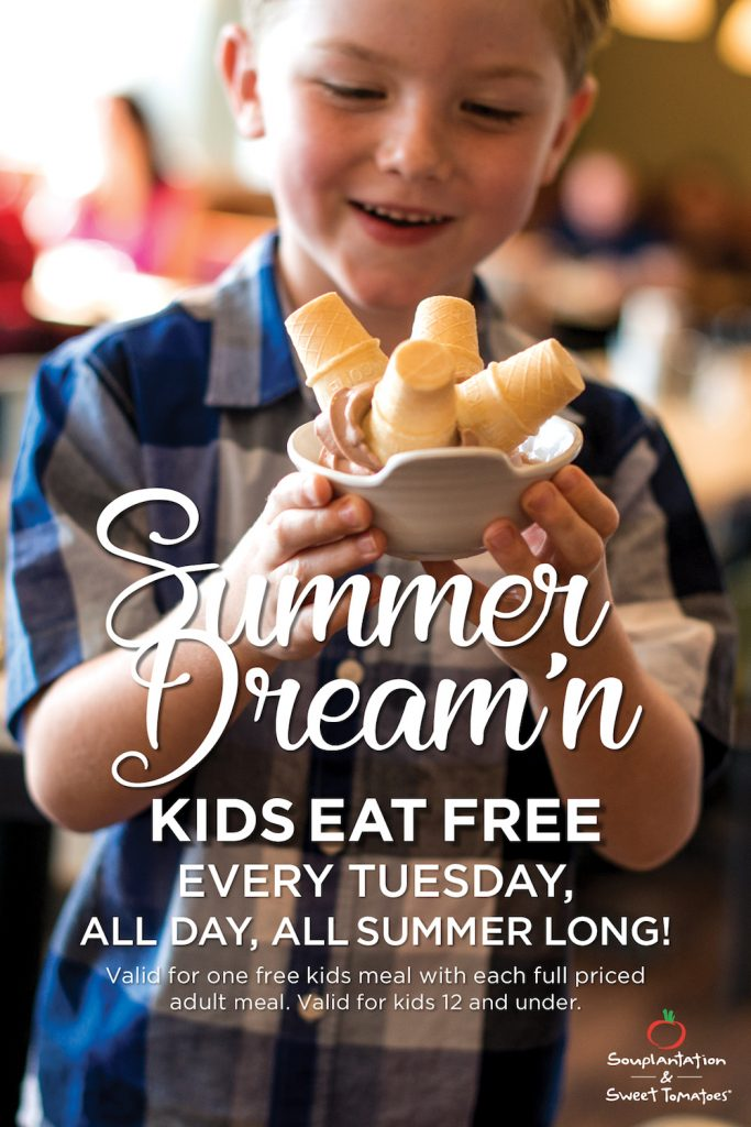 Kids Eat Free Every Tuesday this summer at Sweet Tomatoes