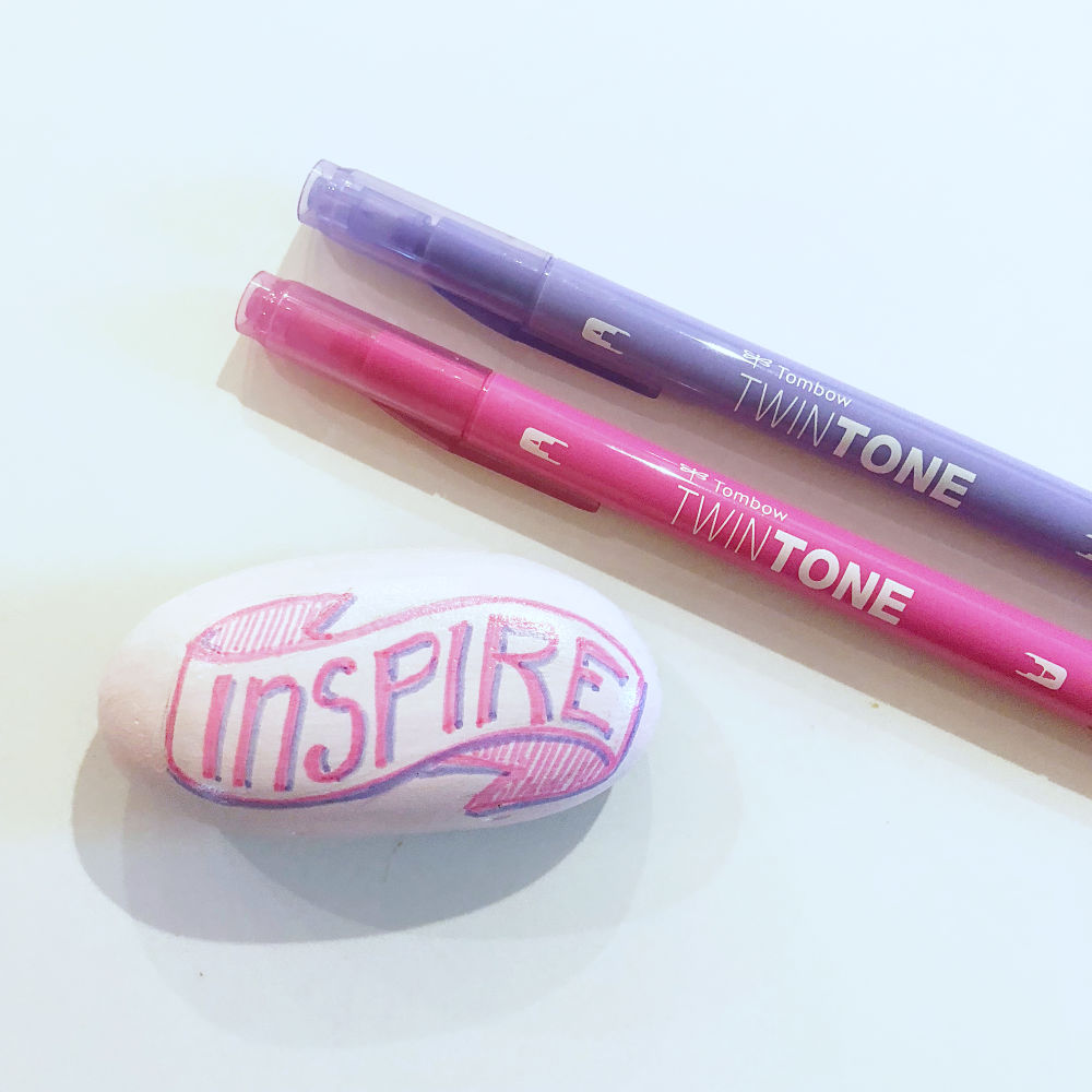 Tombow TwinTone on Painted Rocks