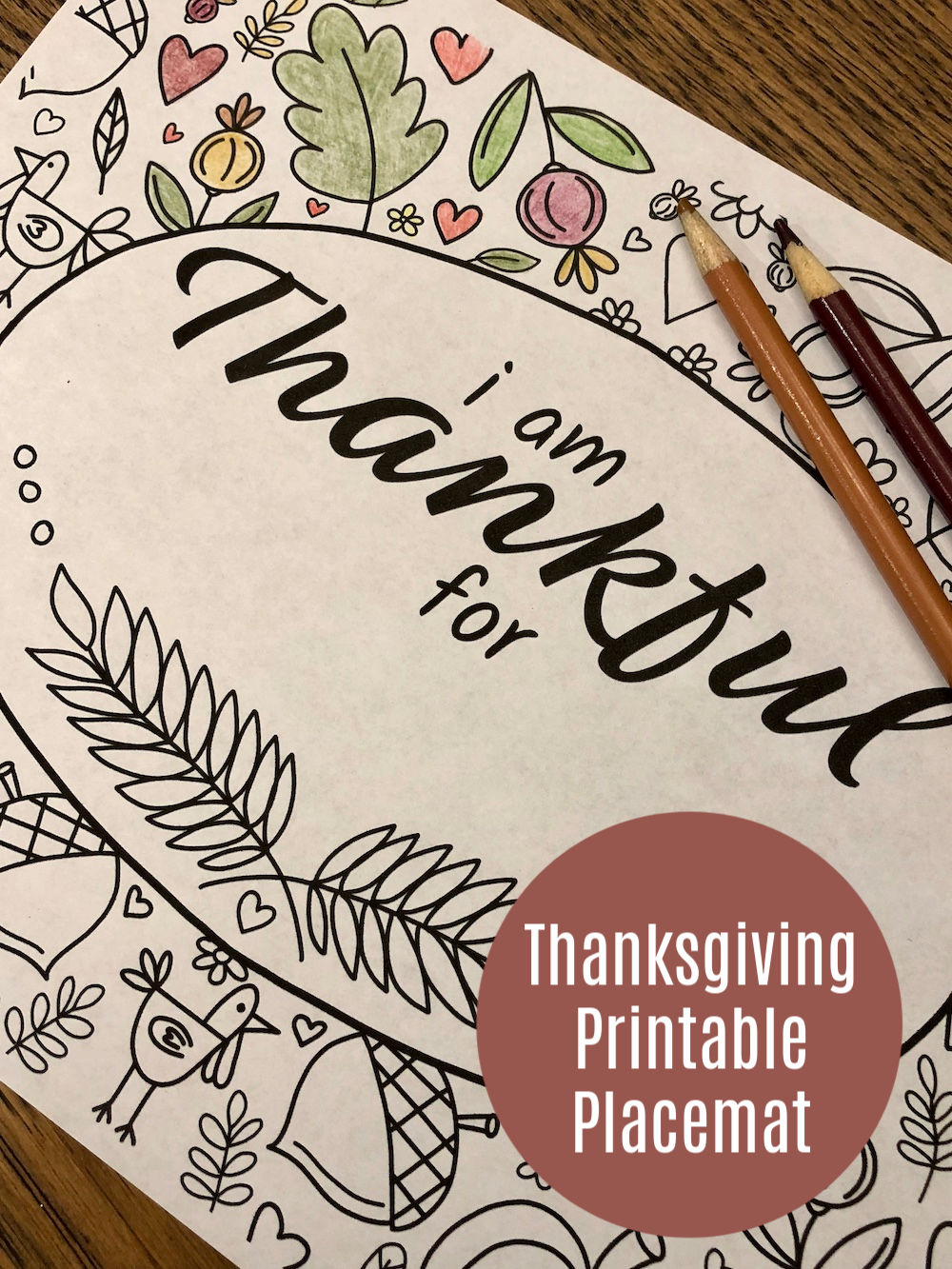 Thanksgiving Placemat Printable