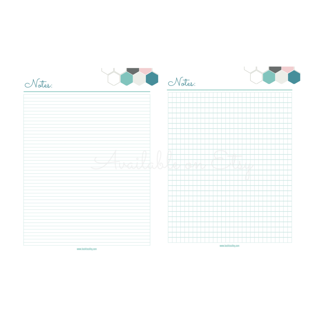 Lined and Grid Note Sheets
