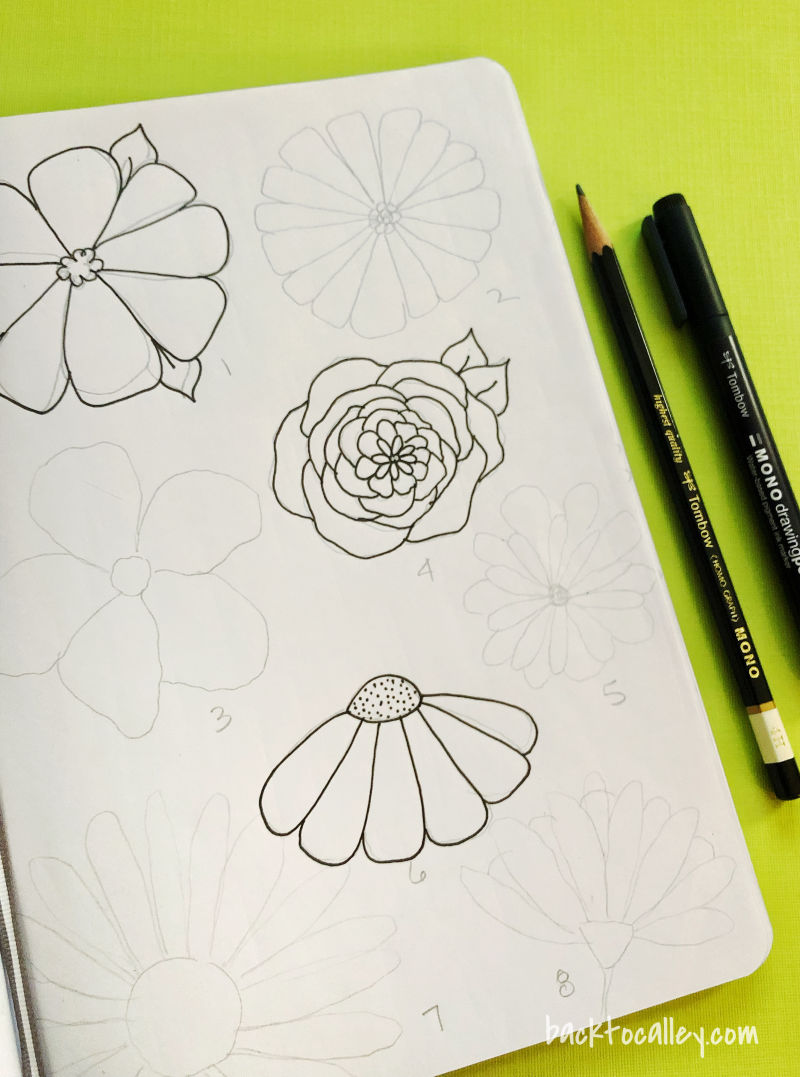 Funky Floral Sketches
