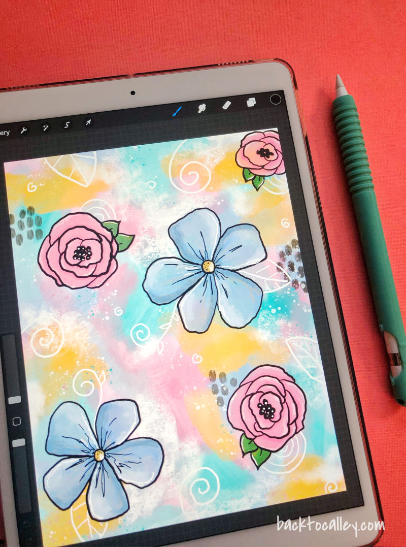 Funky Floral iPad Art