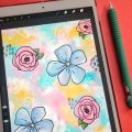 Funky Floral iPad Art