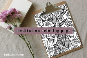 Meditation Coloring Yoga Tree Page
