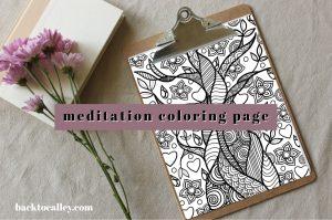 Meditation Coloring Yoga Tree Page